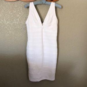 Peep Form-Fitting White M Spandex Dress